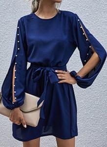 Niebieska sukienka Cikelly w stylu casual z okrągłym dekoltem z długim rękawem