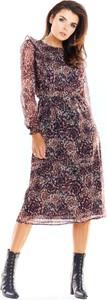 Sukienka Awama z okrągłym dekoltem midi z szyfonu