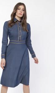 Niebieska sukienka Lanti z długim rękawem