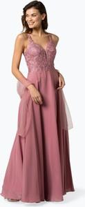 Sukienka Luxuar Fashion z dekoltem w kształcie litery v rozkloszowana bez rękawów