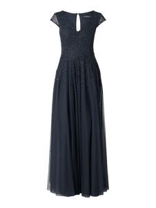 Granatowa sukienka Vera Mont z tiulu z dekoltem w łódkę maxi
