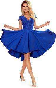 Sukienka NUMOCO mini asymetryczna z dekoltem w kształcie litery v