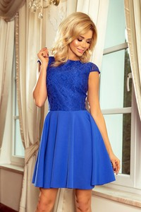 Niebieska sukienka NUMOCO z okrągłym dekoltem z krótkim rękawem rozkloszowana