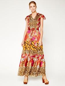 Sukienka Silvian Heach z dekoltem w kształcie litery v w stylu boho rozkloszowana