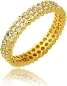 Hosa Złota obrączka wielokamieniowa z białymi cyrkoniami dwurzędowa (próba 333)