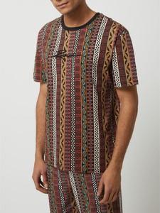Czarny t-shirt Review z krótkim rękawem w stylu etno z bawełny