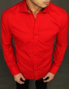 Czerwona koszula Dstreet z długim rękawem z klasycznym kołnierzykiem