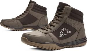 Brązowe buty zimowe Kappa sznurowane w sportowym stylu