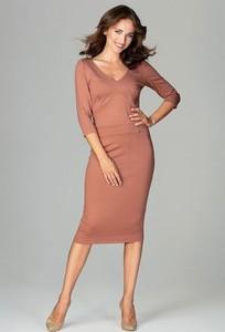 Różowa sukienka LENITIF z dekoltem w kształcie litery v midi z długim rękawem
