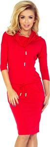Czerwona sukienka NUMOCO w stylu casual z golfem midi