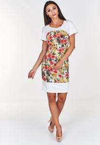 Sukienka Fokus z krótkim rękawem z dzianiny z okrągłym dekoltem