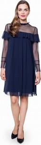 L'af sukienka z siateczkowym dekoltem i falbanami l'af muza