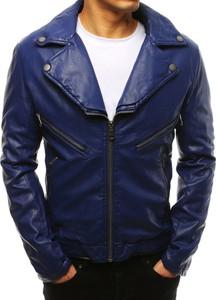 Niebieska kurtka Dstreet w stylu casual ze skóry ekologicznej