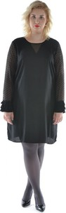 Czarna sukienka Junarose z okrągłym dekoltem dla puszystych z długim rękawem