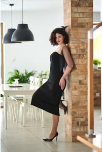 Czarna sukienka Pastelove Motyle z bawełny