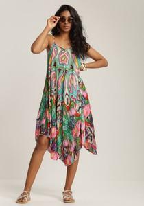 Sukienka Renee asymetryczna na ramiączkach z dekoltem w kształcie litery v
