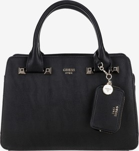 Czarna torebka Guess z bawełny do ręki z breloczkiem