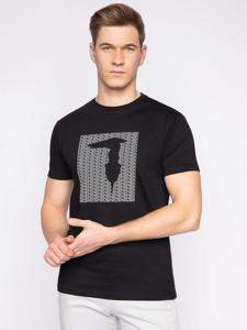 Czarny t-shirt Trussardi Jeans z krótkim rękawem