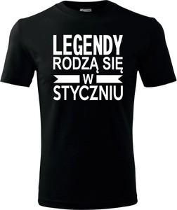 Czarny t-shirt TopKoszulki.pl w młodzieżowym stylu z bawełny z krótkim rękawem
