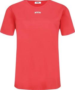 Czerwony t-shirt MSGM z krótkim rękawem z okrągłym dekoltem