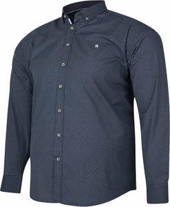 Niebieska koszula Bigsize z bawełny z krótkim rękawem z klasycznym kołnierzykiem