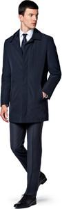 Granatowy płaszcz męski LANCERTO z tkaniny