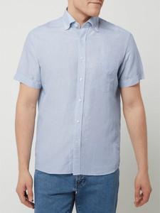 Niebieska koszula Eterna z krótkim rękawem w stylu casual z bawełny