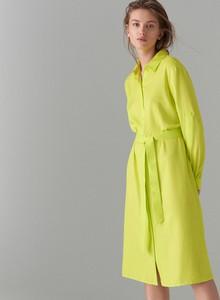 Żółta sukienka Mohito szmizjerka w stylu klasycznym z kołnierzykiem