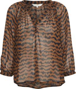 Brązowa bluzka Part Two w stylu casual z dekoltem w kształcie litery v z długim rękawem