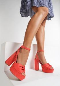 Pomarańczowe sandały renee na słupku z klamrami