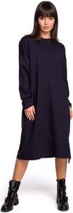 Sukienka MOE w stylu casual z okrągłym dekoltem z długim rękawem