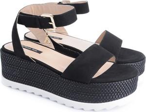 Czarne sandały ubierzsie.com ze skóry w stylu casual