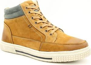 Żółte buty zimowe American Club sznurowane