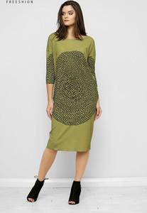 Zielona sukienka Freeshion z okrągłym dekoltem z długim rękawem