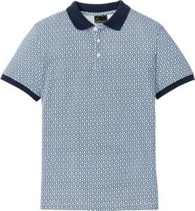Niebieska koszulka polo bonprix bpc selection z krótkim rękawem