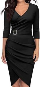 Czarna sukienka Arilook midi z długim rękawem z dekoltem w kształcie litery v