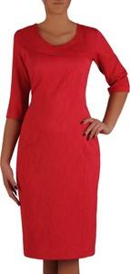 Czerwona sukienka POLSKA z okrągłym dekoltem