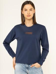 Bluzka Tommy Jeans z okrągłym dekoltem z długim rękawem w stylu casual