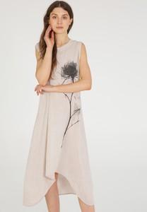 Sukienka Unisono bez rękawów z lnu