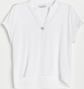 Bluzka Reserved w stylu casual z dekoltem w kształcie litery v z krótkim rękawem