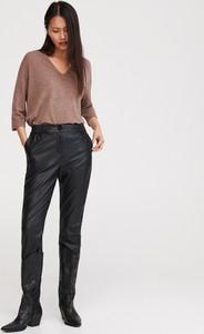 Brązowa bluzka Reserved z długim rękawem w stylu casual