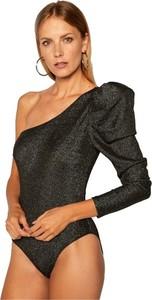 Czarna bluzka Guess z dekoltem w kształcie litery v z długim rękawem