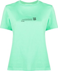 Zielony t-shirt MSGM z krótkim rękawem z okrągłym dekoltem