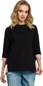 Czarna bluzka MOE z długim rękawem z tkaniny