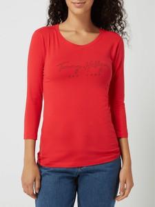 Czerwona bluzka Tommy Hilfiger z bawełny w stylu casual