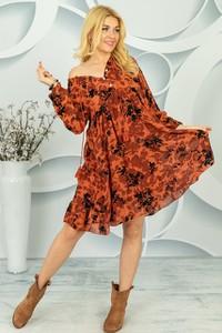 Sukienka Made in Italy z bawełny z dekoltem w kształcie litery v z długim rękawem