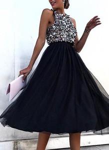 Granatowa sukienka Sandbella rozkloszowana mini