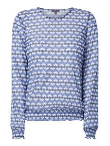 Niebieska bluzka Montego z okrągłym dekoltem z długim rękawem