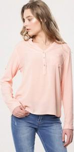 Pomarańczowa bluzka born2be w stylu casual z długim rękawem