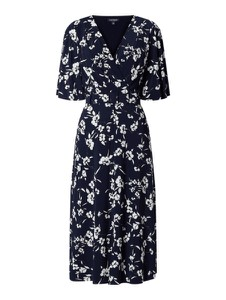 Granatowa sukienka Ralph Lauren midi z krótkim rękawem z dekoltem w kształcie litery v